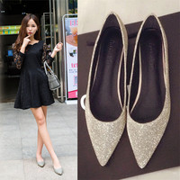 Silver Spring New Flats Female Point Big Yards Sequins Bridesmaid Wedding Shoes Flat Documentary The Shallow