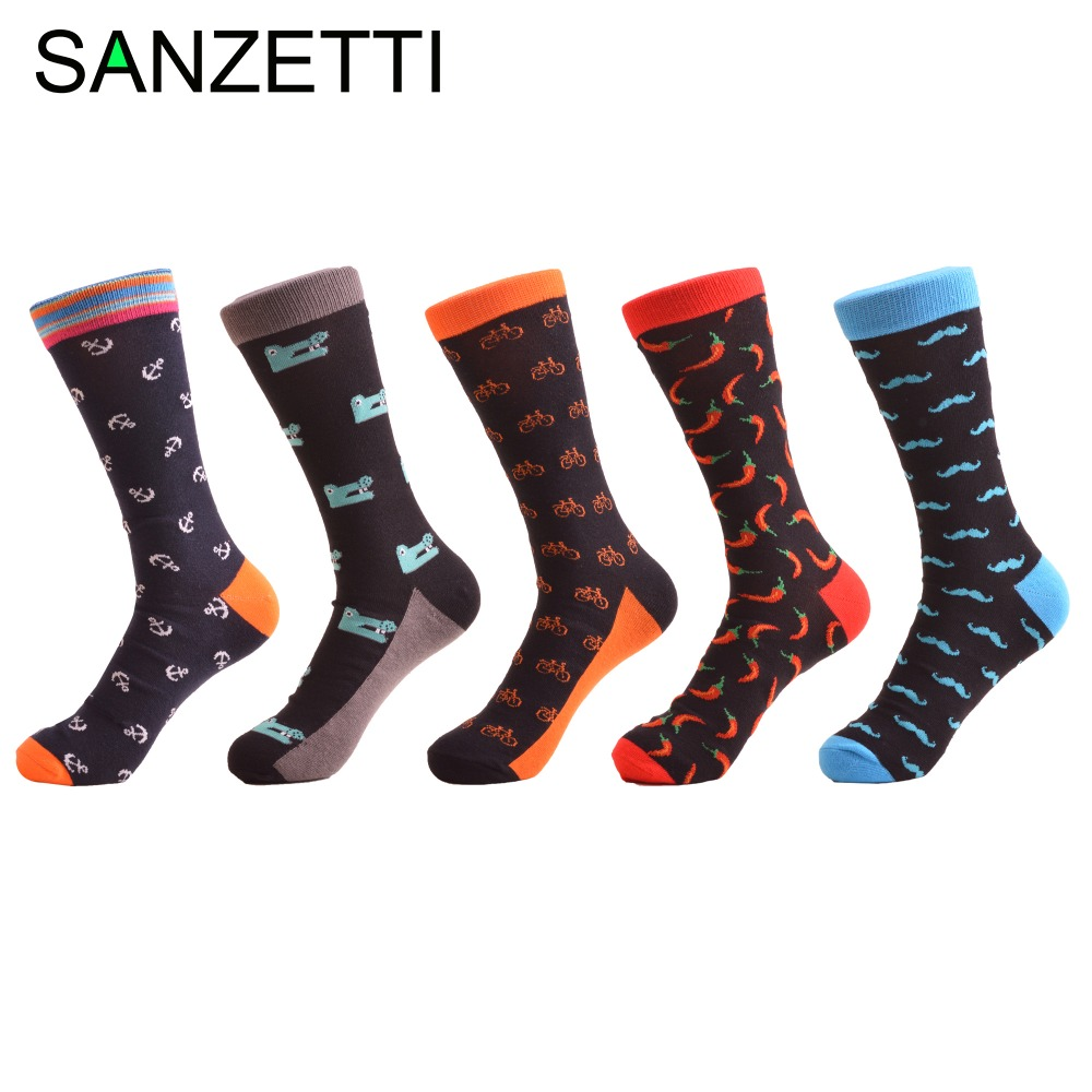 SANZETTI 5 pairs/lot Colorful Mens Funny Combed Cotton Crew Dress Wedding Socks Red Pepper Novelty Causal Skateboard Socks