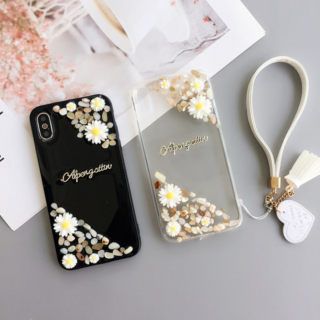quality design a9d4a 87323 US $4.74 5% OFF|3D daisy flowers For iPhone X/ 8 plus clear Case soft Cover  for iPhone 6 6s plus phone fundas for iphone 7 plus + strap Pendant-in ...