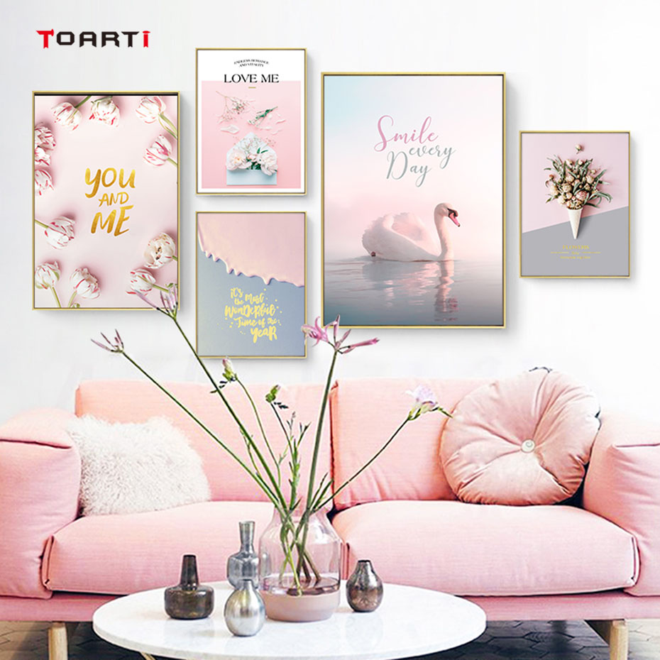 Bedroom Decor Poster Murals Painting Wall-Picture Flowers Canvas Roses Prints Pink Nordic-Style