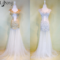 2018 Gold See Through Mermaid Prom Dresses Long Sexy Illusion Silver Gorgeous Party Maxi Gowns Luxury