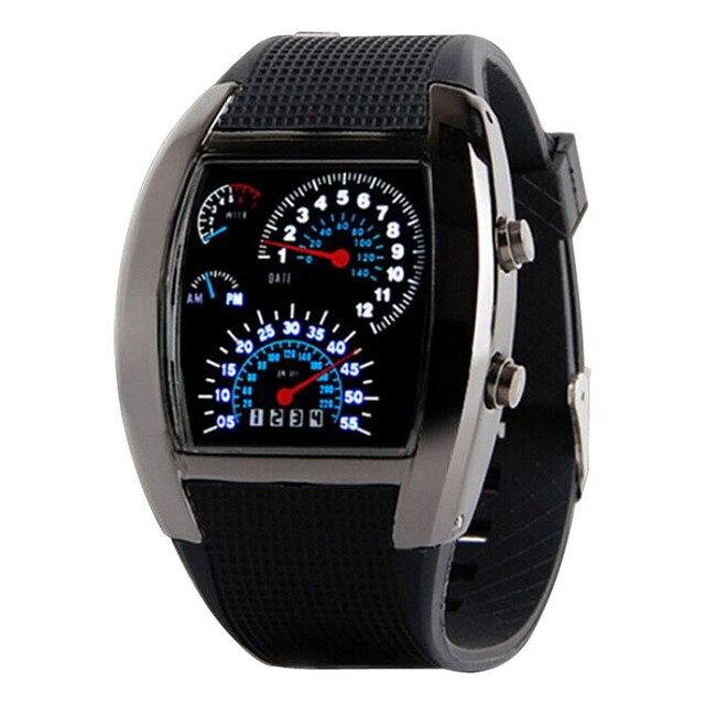 GEMIXI DROP SHIPPING Fashion Aviation Turbo Dial Flash LED Watch Gift Mens Lady