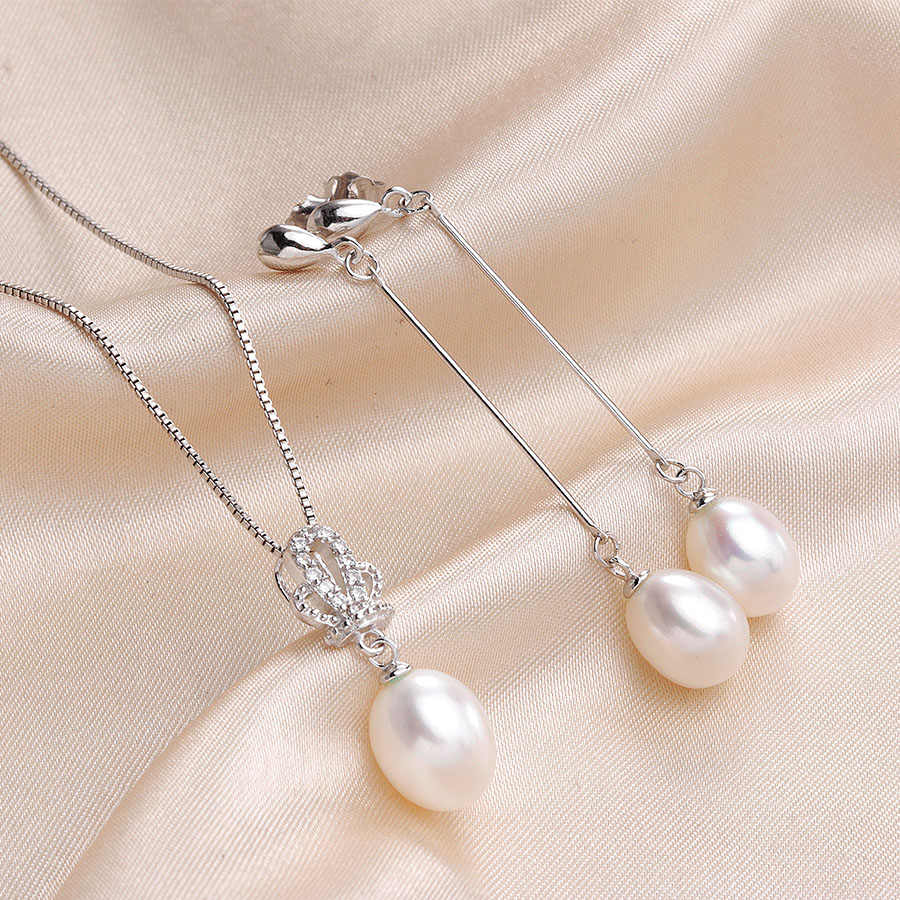 Fashion Wedding Jewelry Sets For Women High Luster Natural Freshwater Pearl 925 Sterling Silver Long Earrings+Pendants Lindo