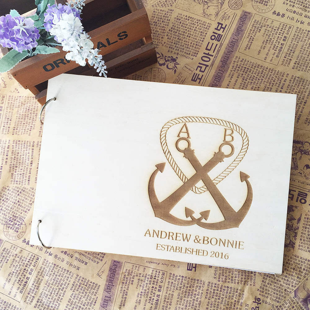 Anchor Pattern Rustic Wood Wedding Favors Guest Book with Customized ...
