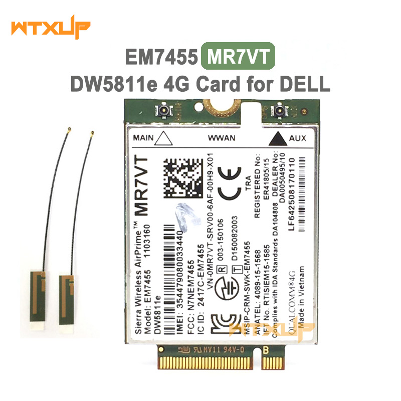 Card-Module WWAN EM7455 DELL Sierra Wireless LTE 4G for E7270/E7470/E7370/.. 300 Mbps title=