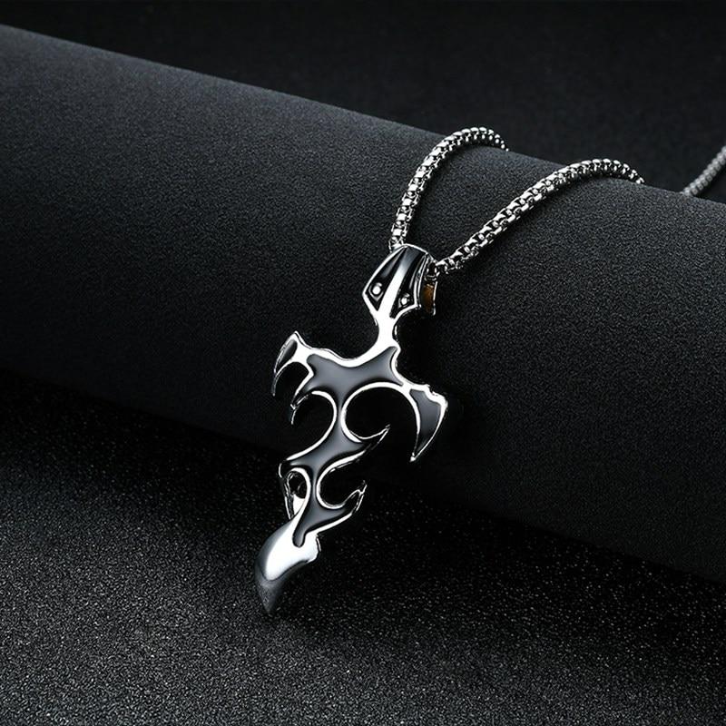Stainless Steel Male Pendant Necklaces Punk Fashion Brave Men FlamePendant Necklace  For   Men