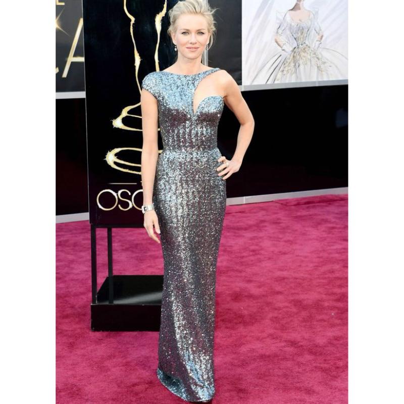Long Mermaid Naomi Watts Celebrity font b Dress b font Silver Sequin font b Evening b