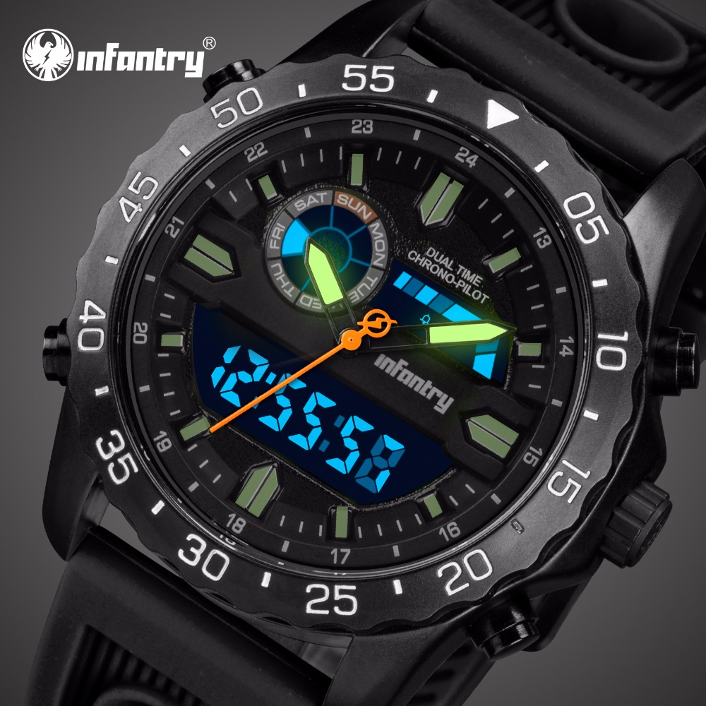 Analog Digital Military Luminous Army Aviator Black Watches For Men