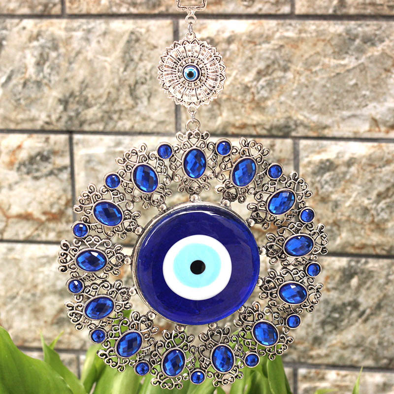 Turkish Blue Glass Evil Eye Lucky Wall Office Decoration Magnetic Metallic