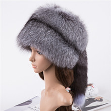 Real fox fur hats for women natural silver cap autumn winter warm russian hat H101