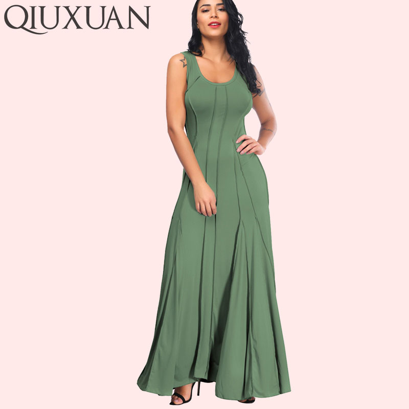 US $24.68 45% OFF|QIUXUAN Plus Size Summer Sleeveless Women Tank Dress  Fashion Scoop Neck Swing Dress Fold Pleated Maxi Casual Dress-in Dresses  from ...