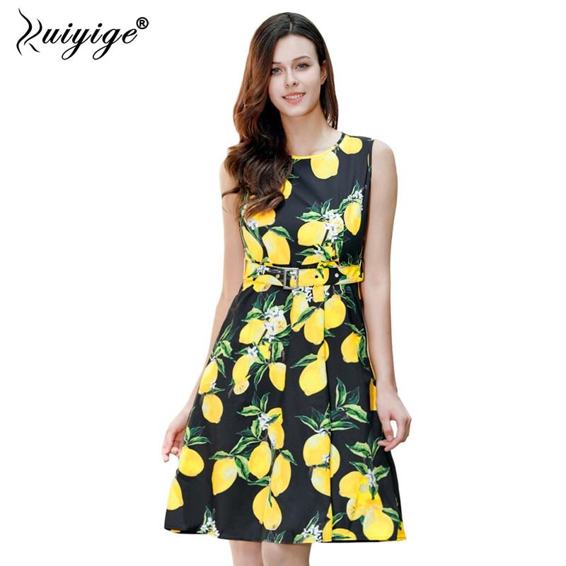 Ruiyige Women Floral Vintage Dress Lemon Print 1950s