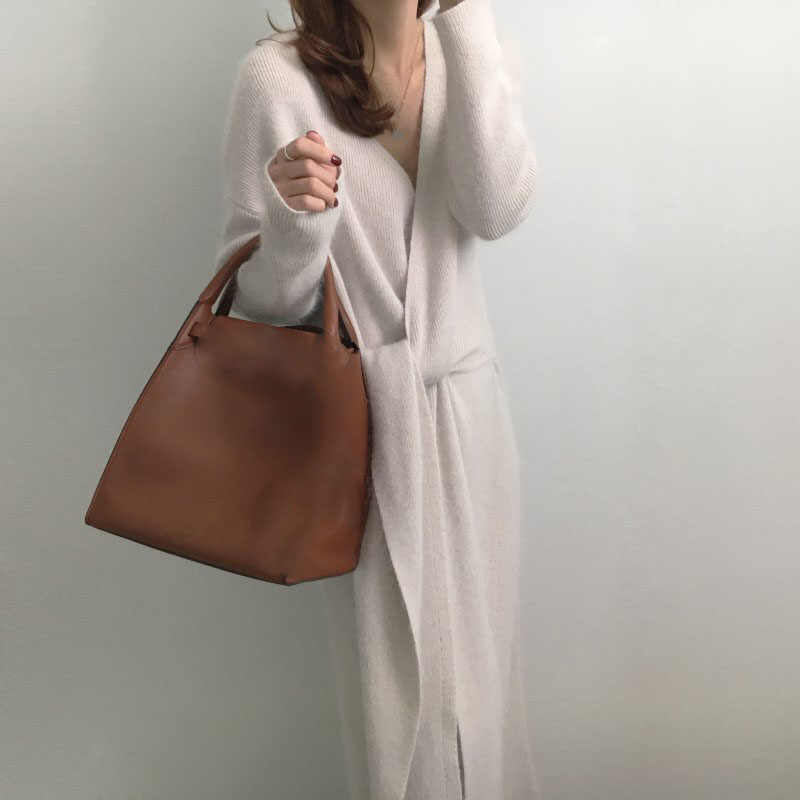 2019 New Korean Belted Sweater Dress Office Lady Long Sleeve Knitted Dress Spring V-Neck Chic Cross Bandage Dress