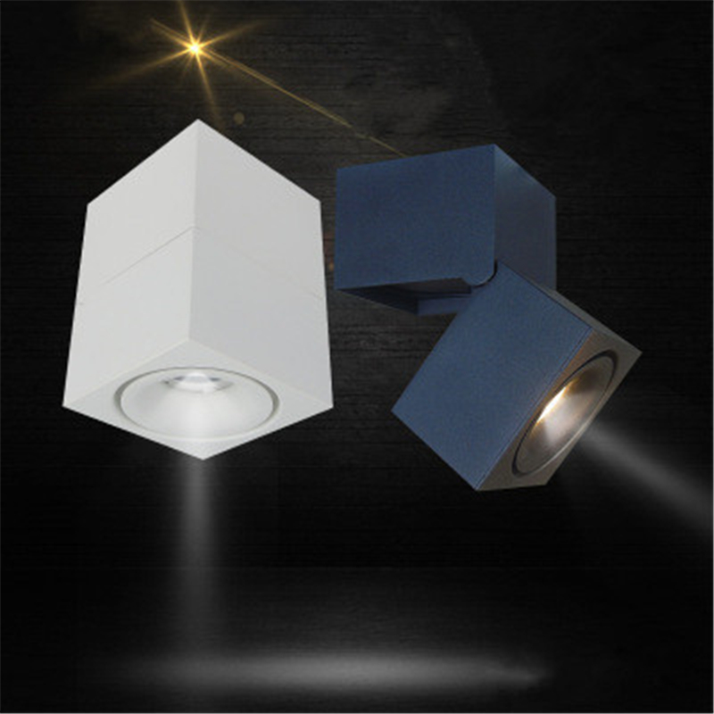 Square Led downlight Surface mounted 3W/7W AC85-265V Adjustable 90 degrees Spot light 360 Rotatable led lamp LED Ceiling Lamp