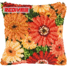 LADIY Latch Hook Cushion Kit Yarn for Embroidery Cushion Cover Daisy Flowers Pillow Case Crochet Cushion Decorative Pillow BZ792(China)