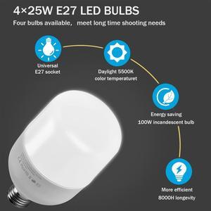 "Image 4 - ZUOCHEN 4 × 25 ワット Led 連続照明キット 20 ""× 28""/50 × 70 センチメートルソフトボックスソフトボックス写真スタジオセット電球ランプ写真ソフトボックス"