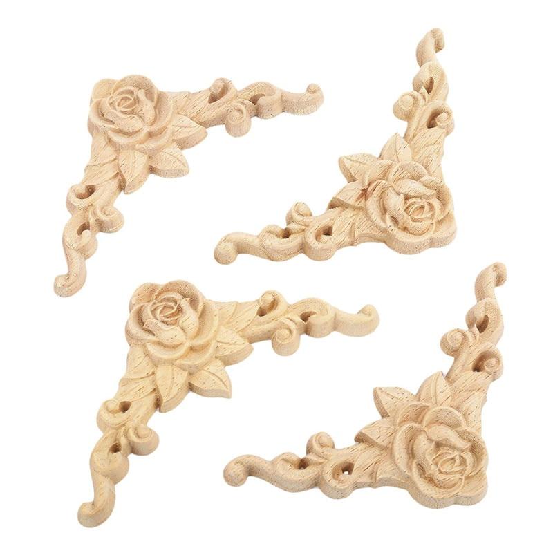 1//4pcs European Wall Corner Onlay Furniture Decor 8*8cm Rose Woodcarving Decal