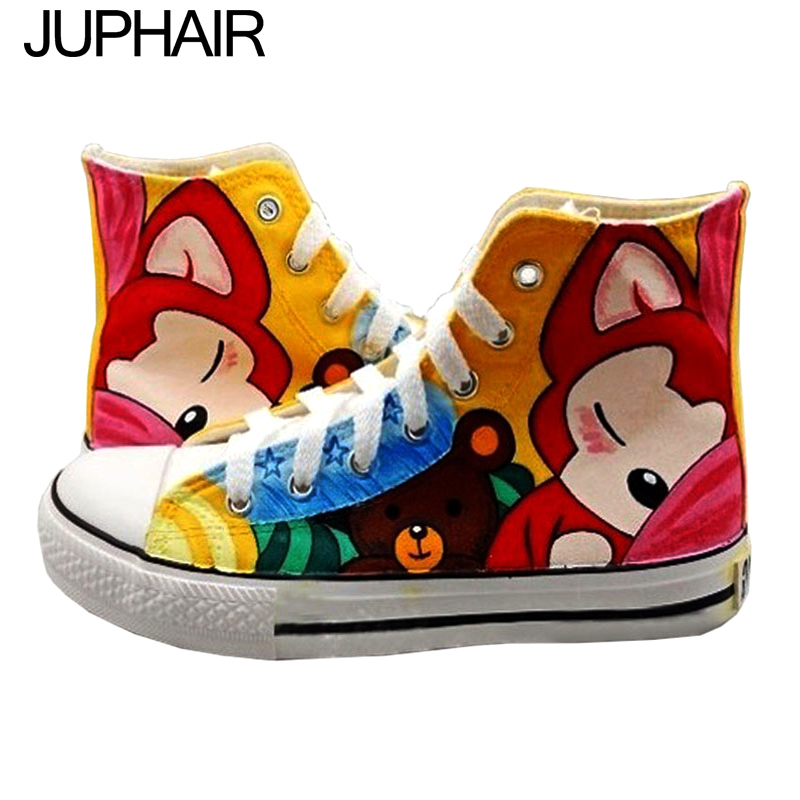 ФОТО JUP Shoes Womans Boys Girl Summer Autumn Casual Breathable Canvas Hand Painted Shoes Super Mario Flag Pattern Spongebob Fox Cats