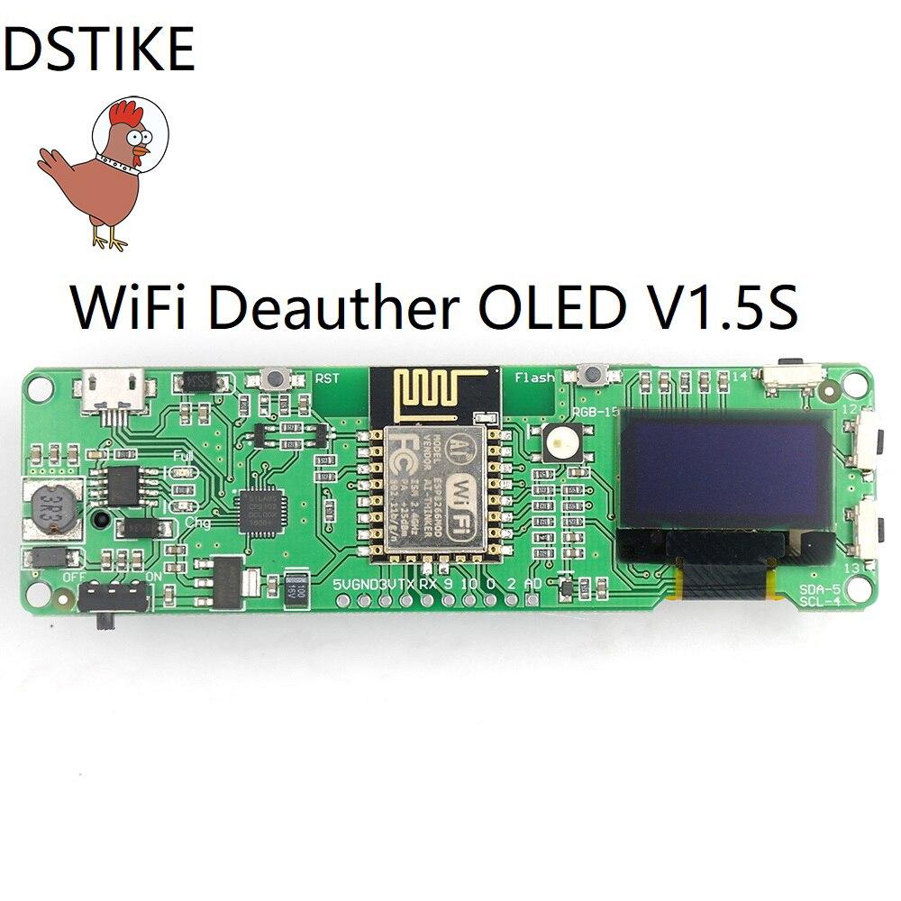 DSTIKE WiFi Deauther OLED V1.5S(Pre-flashed) ESP8266+OLED ESP-12E NodeMCU IOT Wireless Radio Development Kit 18650 charger ESP32