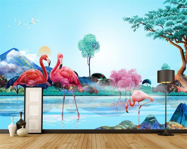 beibehang moderne art mural fond d 39 cran personnalis 3d jungle aquarelle flamingo papier peint. Black Bedroom Furniture Sets. Home Design Ideas