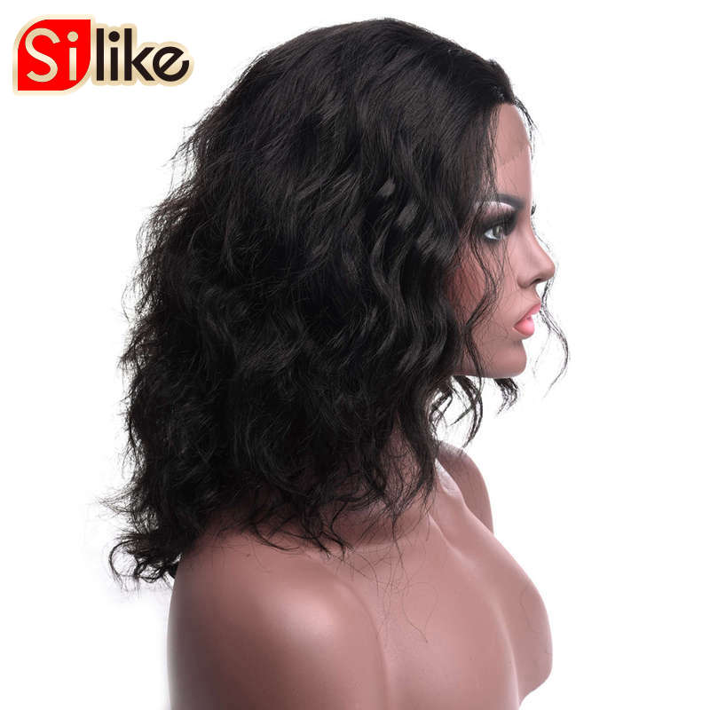 Silike натуральный черный Синтетический Frontal шнурка волос синтетических среднего парик для черный Для женщин низкая Температура Волокно с рег...