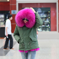 New big raccoon fur hood winter jacket women parka natural real fur coat for women thick soft lining abrigos de piel mujer 2016
