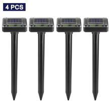 Souris solaire Ultra sonique, 4 pièces, répulsif dinsectes rongeurs lumière LED, répulsif pour lampes dextérieur, jardin, cour