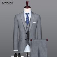 men suit new arrivals spring summer mens suits grey jacket + vest + pant 3pcs set gray for wedding dress 2017 plus size slim