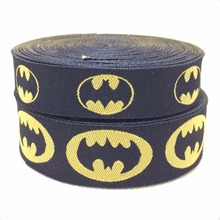 2014 NEW  wholesale 5/8+7/8(16mm+22mm 20y/lots) Polyester black superman Woven Jacquard Ribbon For Dog Collar KTZD2014071402