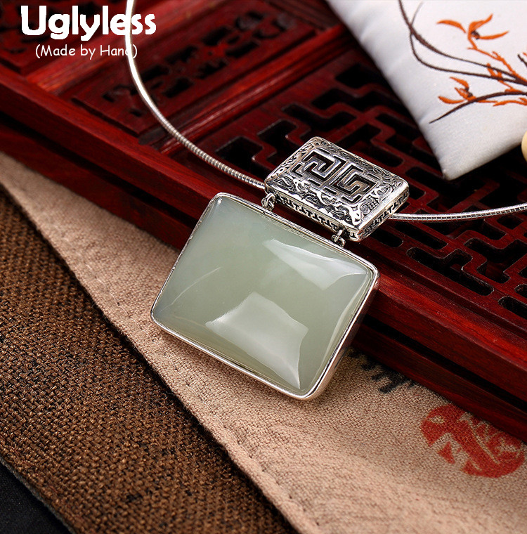 Uglyless Real 925 Sterling Silver Natural White Jade Square Women Necklaces without Chains Vintage Patterns Hollow Fine Jewelry