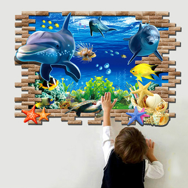 3d dolphin sea wall sticker free shipping worldwide for Stickers 3d pared