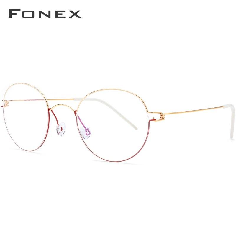 Image 2 - FONEX Titanium Alloy Optical Glasses Men Prescription Eyeglasses Frame Korean Denmark Women Myopia Screwless Eyewear 98621-in Men's Eyewear Frames from Apparel Accessories