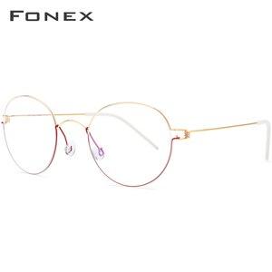Image 2 - FONEX, gafas ópticas de aleación de titanio, gafas graduadas para hombres, montura de gafas coreanas de Dinamarca para mujeres, gafas sin tornillos para miopía 98621