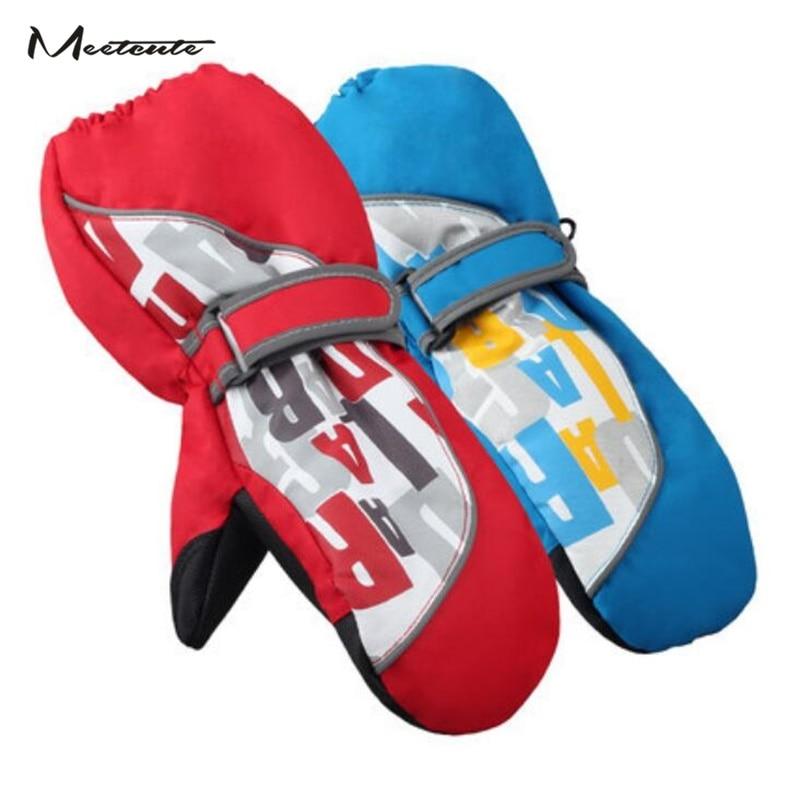 Meetcute New Ski Kids Children's Gloves Baby Winter Waterproof Mittens For Boys Girls Cotton Finger Blue Red Outdoor Windproof