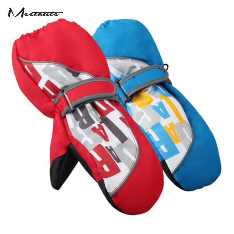 Meetcute New Ski Kids Childrens Gloves Baby Winter Waterproof Mittens For Boys Girls Cotton Finger Blue Red Outdoor Windproof