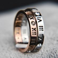 KNOCK модные ювелирные изделия элегантный темперамент выдалбливают счастливые римские цифры покрытие из розового золота титановая сталь кольцо