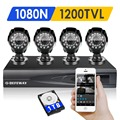 Defeway 1200tvl 720 p hd sistema de cámaras de seguridad al aire libre 1 tb disco duro 1080n 4ch dvr kit de vigilancia cctv ahd conjunto de cámara