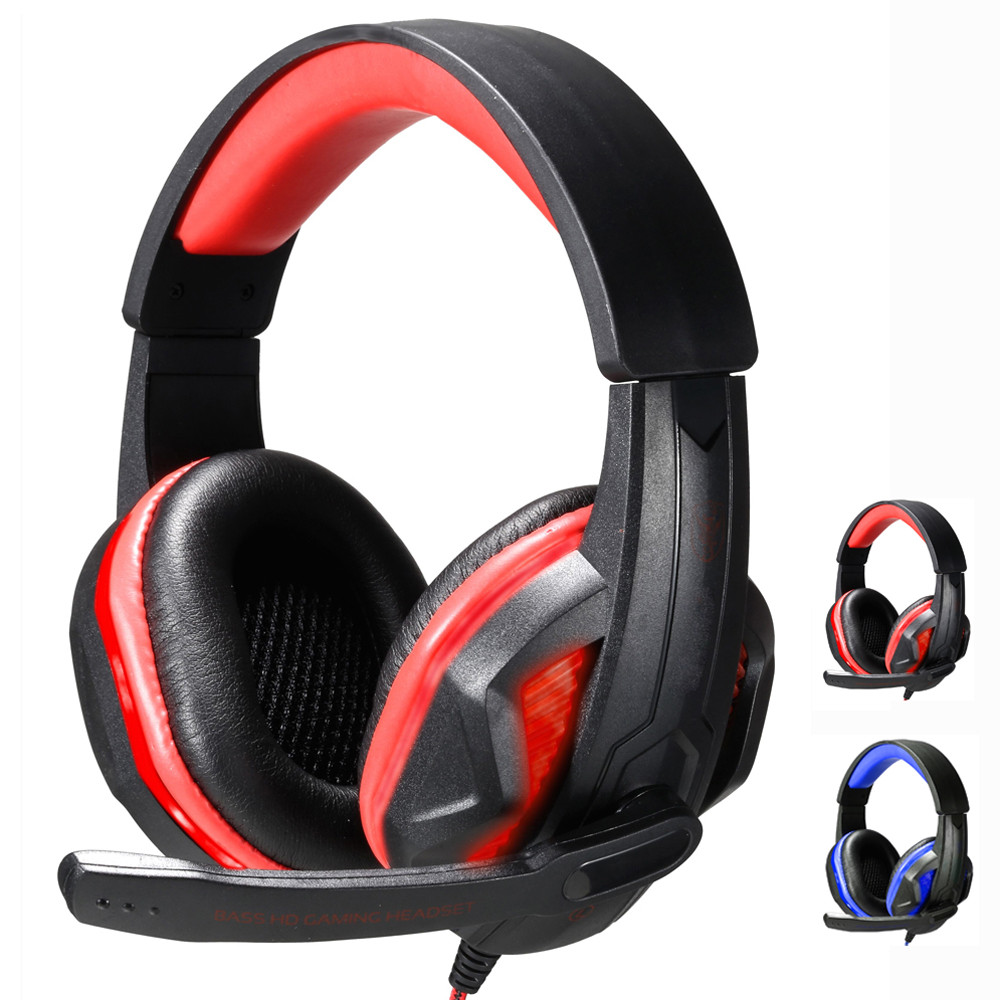 2017 hot sale Deep Bass Surround Stereo Gaming Headset Headband Headphone USB 3.5mm LED with Mic for PC