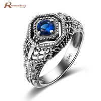 Wholesale New Jewelry Brand Ring Vintage Retro Ring Blue Sapphire Austrian Crystal Ring 100 925 Sterling