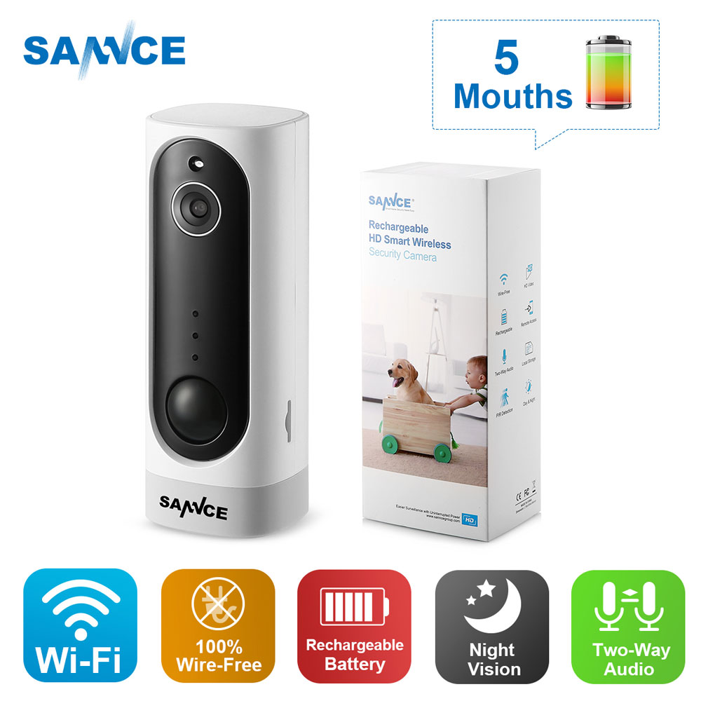 SANNCE 3000mA Rechargeable Battery PIR Camera 1MP HD Mini IP Camera 720P Night Vision Wireless Home