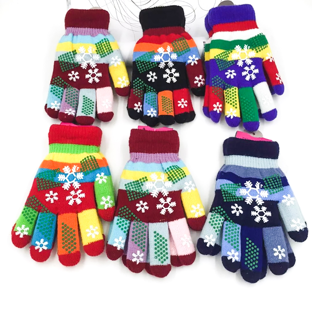 Winter Warm Children Gloves Kids Full Finger Double  Thick Gloves Girls Boys Knitted Stretch Mittens Random Color  &