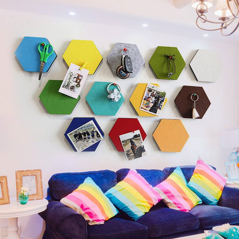 Image 4 - 10Pcs 3D Felt Hexagon Letter Message Board Photo Display DIY Art Home Office Planner Schedule Board Wall Decoration Memo Holder-in Card Holder & Note Holder from Office & School Supplies