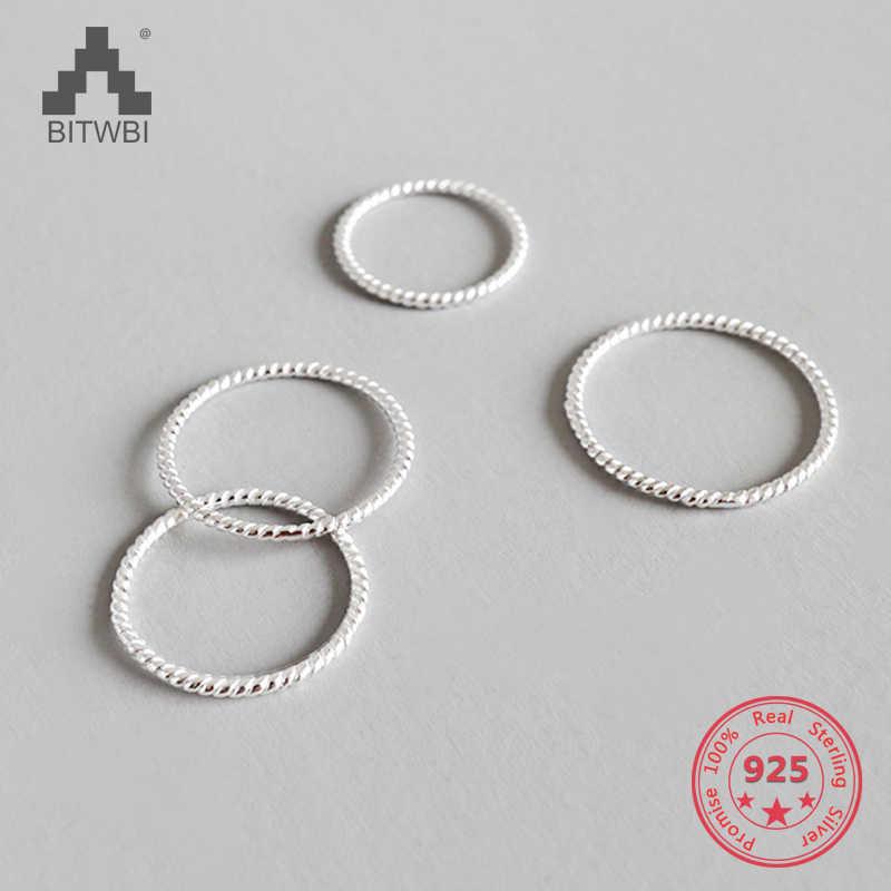 100% 925 เงินสเตอร์ลิงง่ายบุคลิกภาพ Twist Silver เกาหลีแหวน