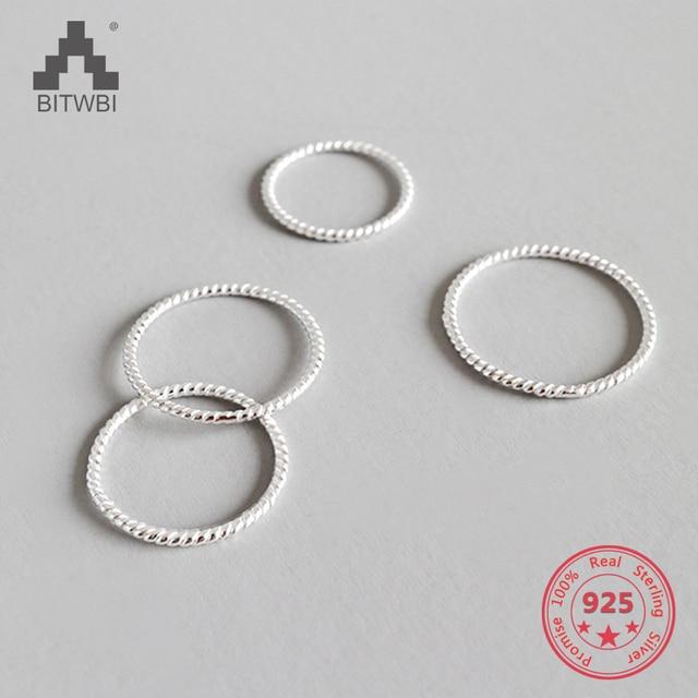100% стерлингового серебра 925 простой личности твист серебро корейское кольцо