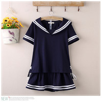 Cute Summer Style 2 Pieces Fashion Women Skirts Sailor Style Vintage Skirt Japanese School Uniform School Suit Skirt Top+Skirt