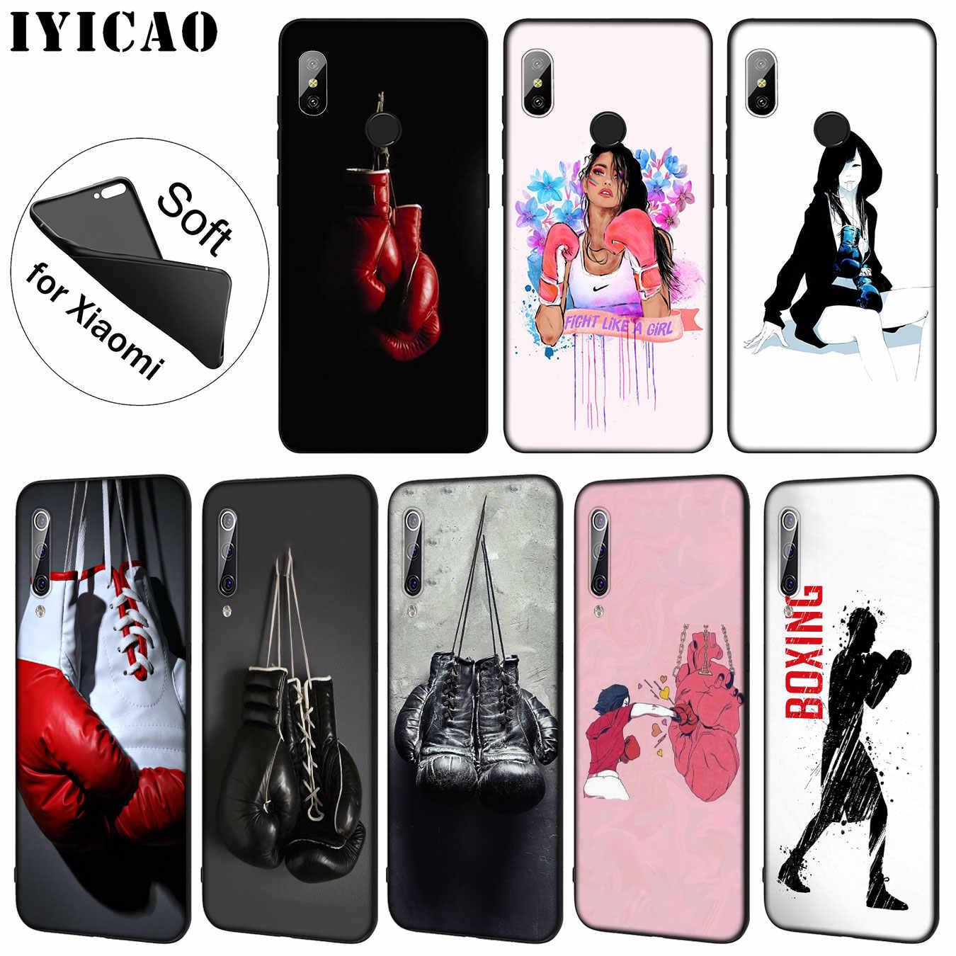 Iyicao dos desenhos animados luvas de boxe menina padrão tpu macio caso telefone para xiao mi 9 se 9 t cc9 cc9e 8 a3 pro a1 a2 lite f1 max 3