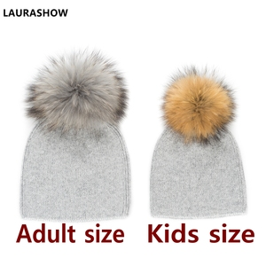 Image 2 - LAURASHOW 2019 Autumn Winter Baby Beanie 15 16cm Real Fur Pompoms Warm Sleep Wool Cap Kids Clothing Accessories Hat