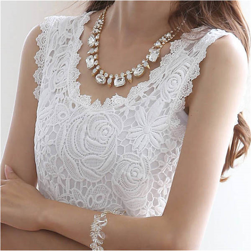 Summer Women Blouses Casual Lace Crochet Blouse Slim Sleeveless Blusas Feminina Tops Shirts Plus Size Women's Clothing