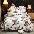 Стиль кантри 4 шт пододеяльник набор Многоцветный розы 100% хлопок потертый шик Реверсивный цветочный Комплект постельного белья простыня на...