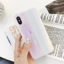 QJW Candy Color Laser Phone Case For iphone X Case For iphone 6 6S 7 8